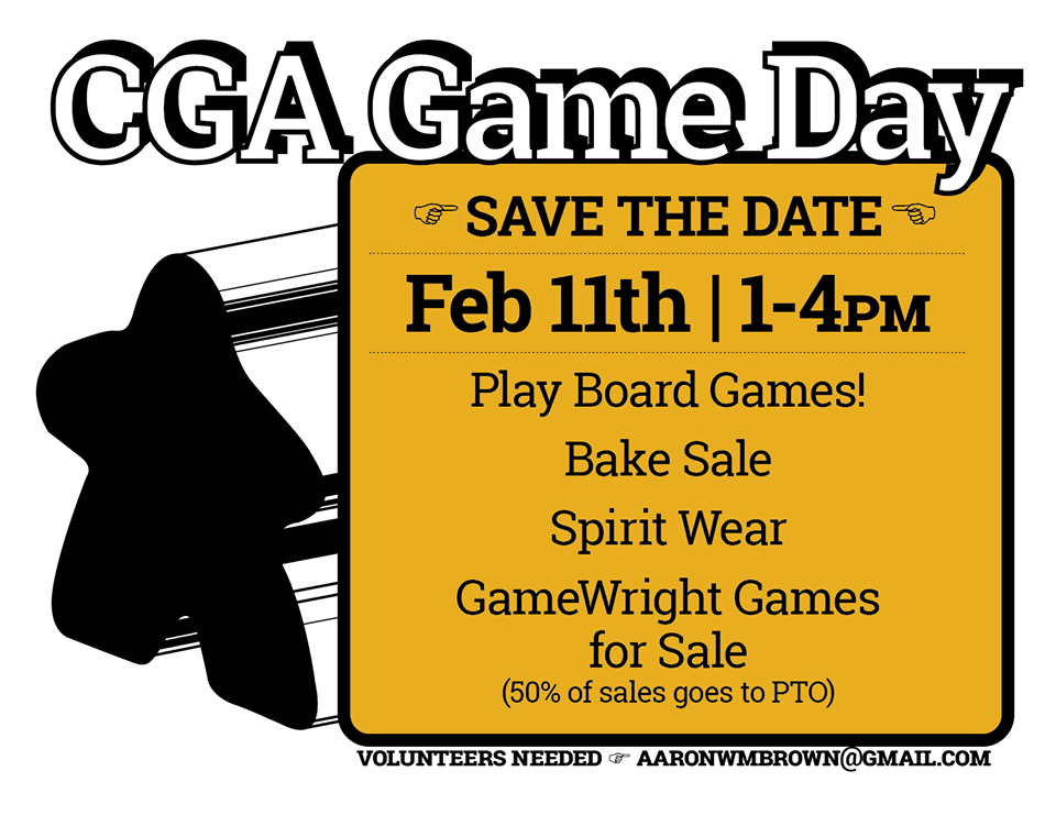 Play Board Games! Bake Sale, Spirit Wear, and GameWright Games for Sale.