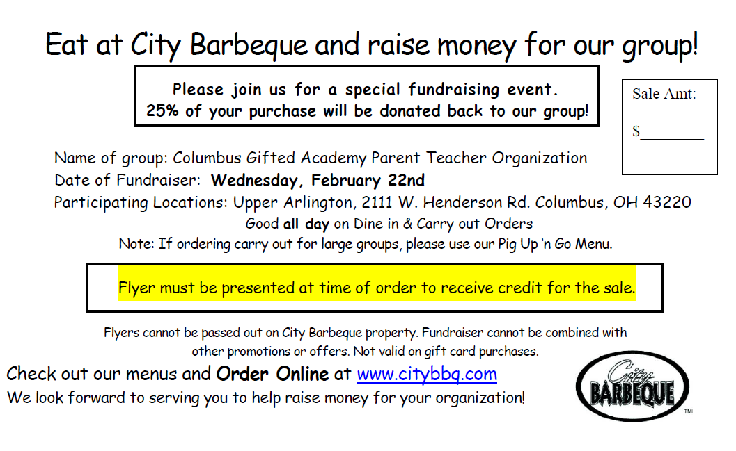 city bbq restaurant fundraiser february 22